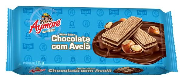 BISCOITO WAFFER AYMORÉ CHOCOLATE C/ AVELÃ  115G