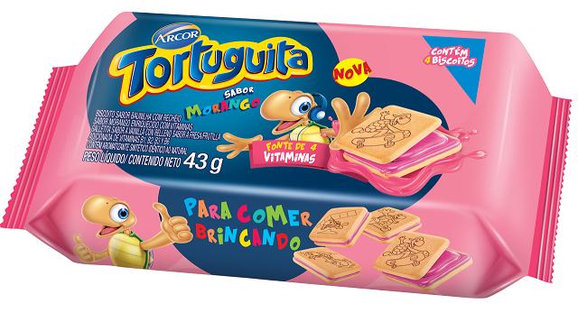 Biscoito Recheado Tortuguita Monodose Morango Pacote Com 12x43g (4 Unidades)