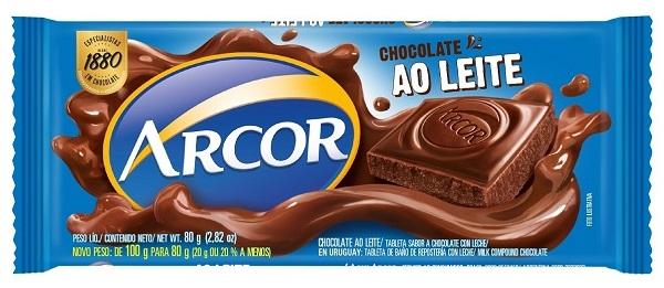 CHOCOLATE BARRA ARCOR AO LEITE DISPLAY 12X80G