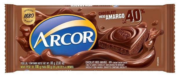 CHOCOLATE BARRA ARCOR AMARGO 40% DISPLAY 12X80G