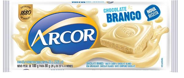 CHOCOLATE BARRA ARCOR BRANCO DISPLAY 12X80G