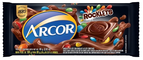 CHOCOLATE BARRA ARCOR AO LEITE C/ ROCKLETS DISPLAY 12X80G