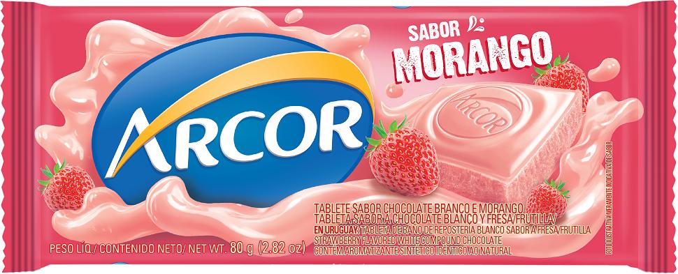 CHOCOLATE BARRA ARCOR MORANGO DISPLAY 12X80G
