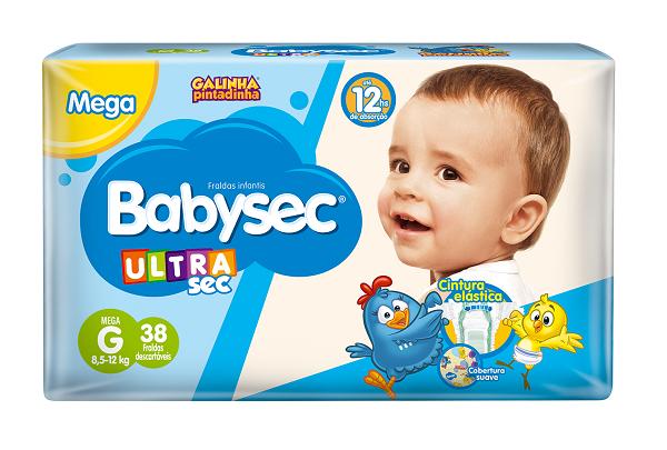 FRALDA INFANTIL BABYSEC ULTRA MEGA TAMANHO G -  PACOTE COM 38 UNIDADES