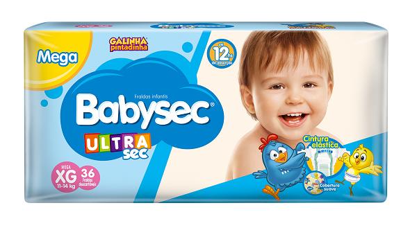 FRALDA INFANTIL BABYSEC ULTRA MEGA TAMANHO XG -  PACOTE COM 36 UNIDADES
