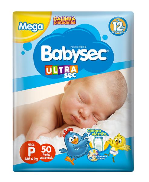 FRALDA INFANTIL BABYSEC ULTRA MEGA TAMANHO P -  PACOTE COM 50 UNIDADES