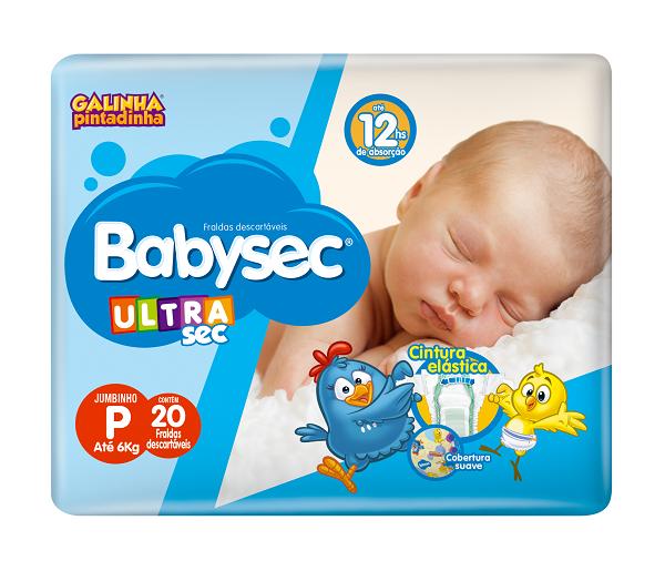 FRALDA INFANTIL BABYSEC ULTRA JUMBINHO TAMANHO P -  PACOTE COM 20 UNIDADES