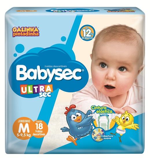 Fralda Infantil Babysec Ultra Jumbinho Tamanho M -  Pacote Com 18 Unidades