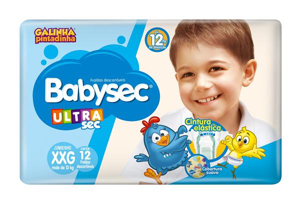 FRALDA INFANTIL BABYSEC ULTRA JUMBINHO TAMANHO XXG -  PACOTE COM 12 UNIDADES