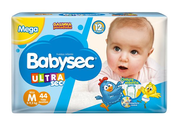 FRALDA INFANTIL BABYSEC ULTRA MEGA TAMANHO M -  PACOTE COM 44 UNIDADES