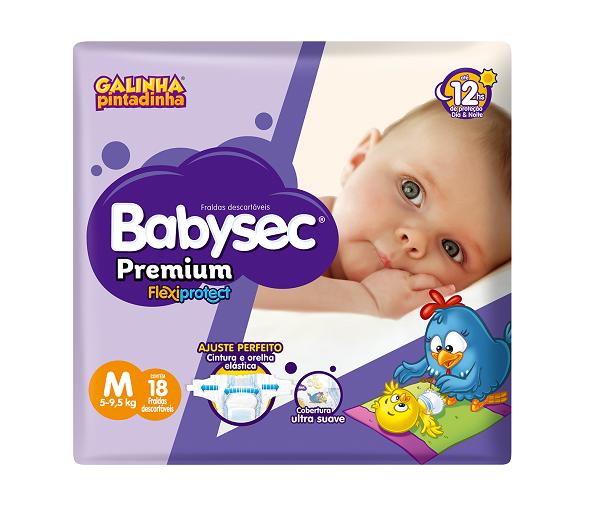 Fralda Infantil Babysec Premium Jumbinho Tamanho M -  Pacote Com 18 Unidades