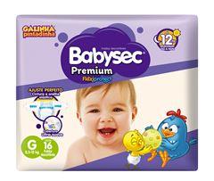 Fralda Infantil Babysec Premium Jumbinho Tamanho G -  Pacote Com 16 Unidades