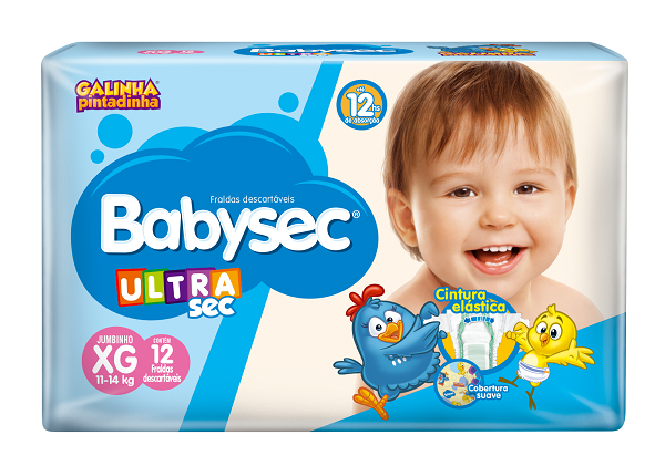FRALDA INFANTIL BABYSEC ULTRA JUMBINHO TAMANHO XG -  PACOTE COM 12 UNIDADES