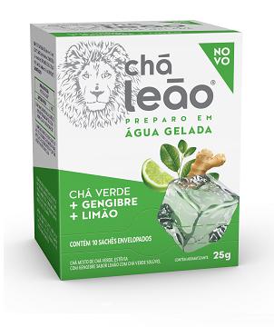 CHÁ GELADO LEÃO VERDE / GENGIBRE / LIMÃO COM 10 SACHES