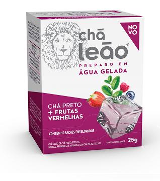 CHÁ GELADO LEÃO PRETO / FRUTAS VERMELHAS COM 10 SACHES