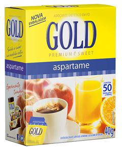 Adoçante Pó Gold Aspartame Caixeta Com 50 Envelopes