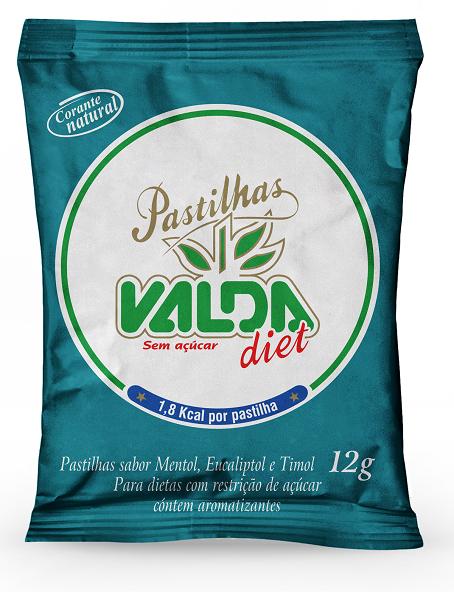 Pastilha Diet Valda Metol / Eucaliptol / Timol Sache 12g