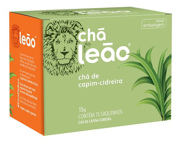 CHÁ PREMIUM LEÃO CAPIM CIDREIRA COM 15 SACHES