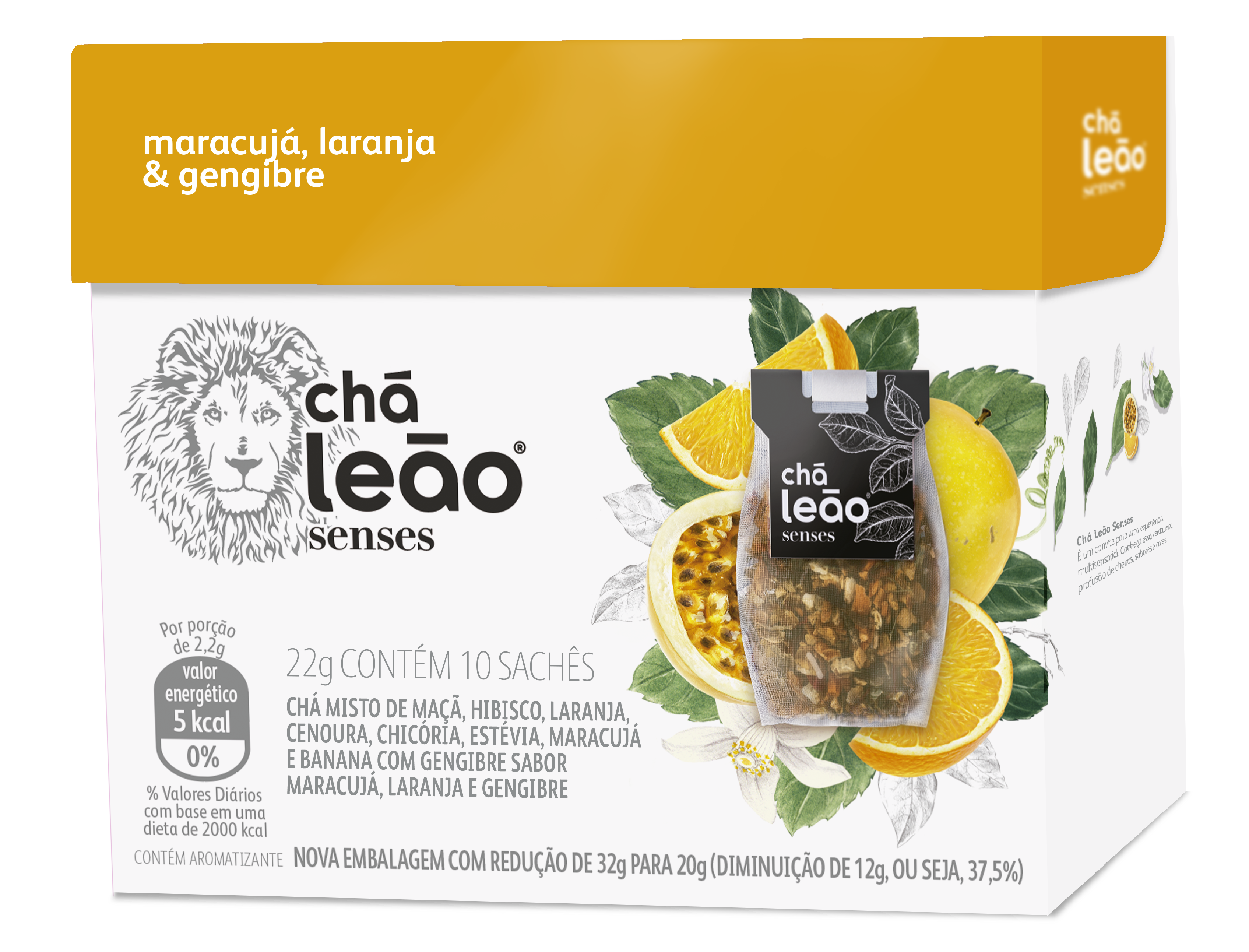 Chá Senses Leão Maracujá / Laranja / Gengibre Com 10 Saches