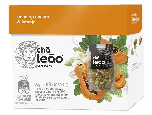 Chá Senses Leão Papaia / Cenoura / Laranja Com 10 Saches