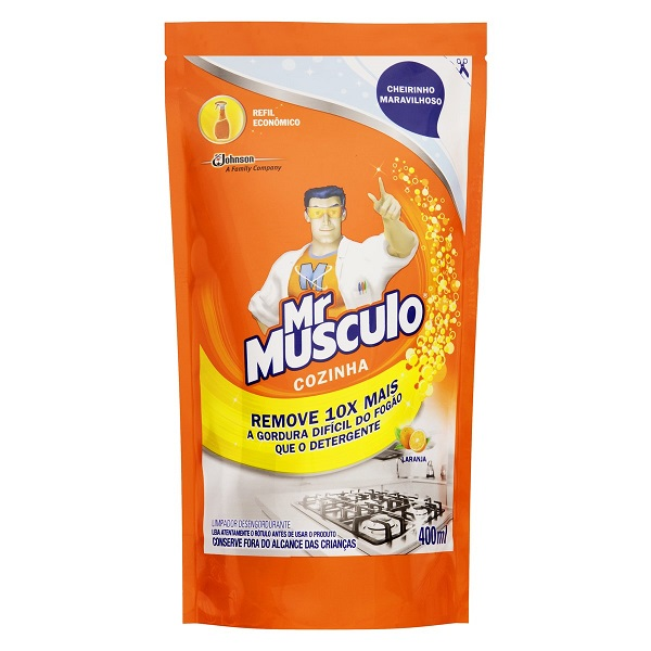 LIMPADOR COZINHA (REFIL) MR MÚSCULO LARANJA SACHE 400ML