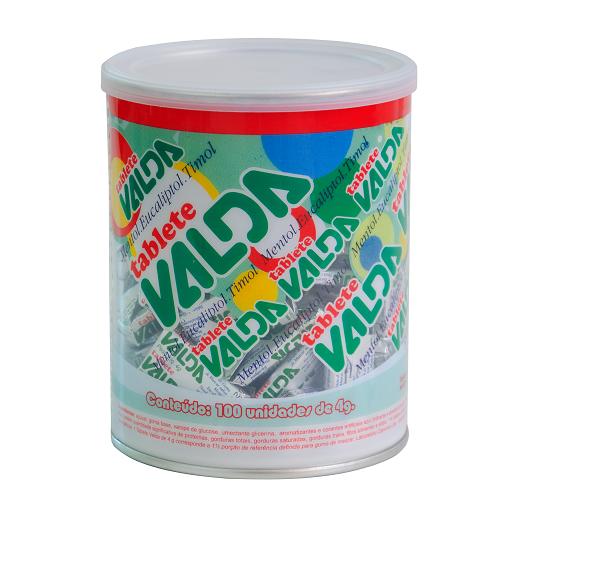 Pastilha Tipo Goma De Mascar Valda Metol / Eucaliptol / Timol Pote Com 100 Unidades