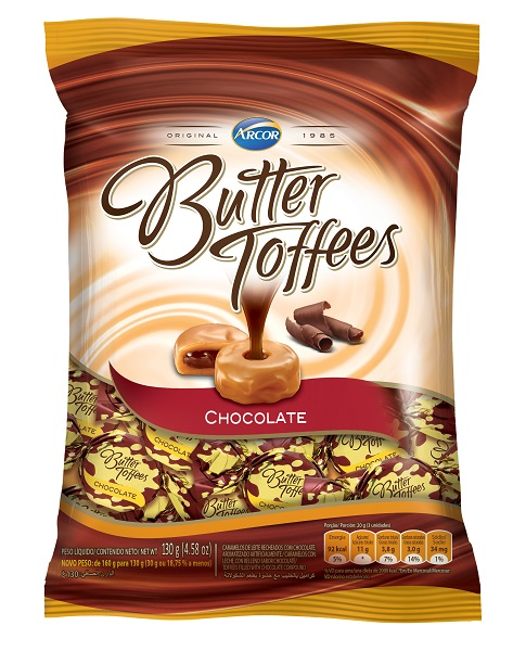 BALA RECHEADA ARCOR BUTTER TOFFE CHOCOLATE PACOTE 100G