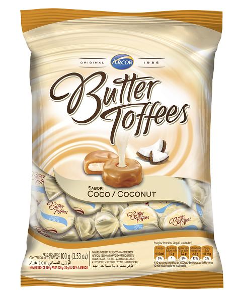 BALA RECHEADA ARCOR BUTTER TOFFE COCO PACOTE 100G