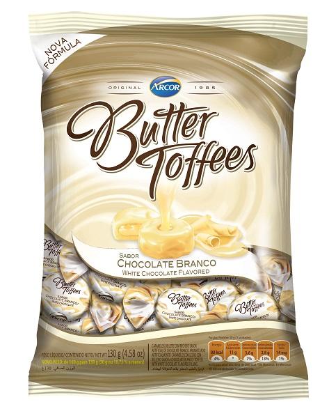 BALA RECHEADA ARCOR BUTTER TOFFE CHOCOLATE BRANCO PACOTE 100G