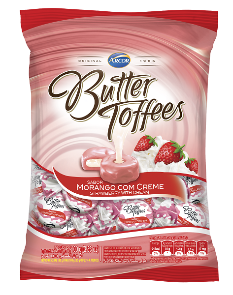 BALA RECHEADA ARCOR BUTTER TOFFE MORANGO PACOTE 100G