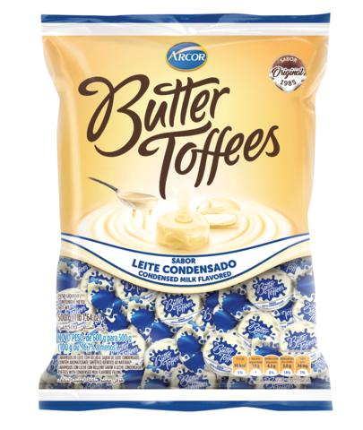 BALA RECHEADA ARCOR BUTTER TOFFE LEITE CONDENSADO PACOTE 100G