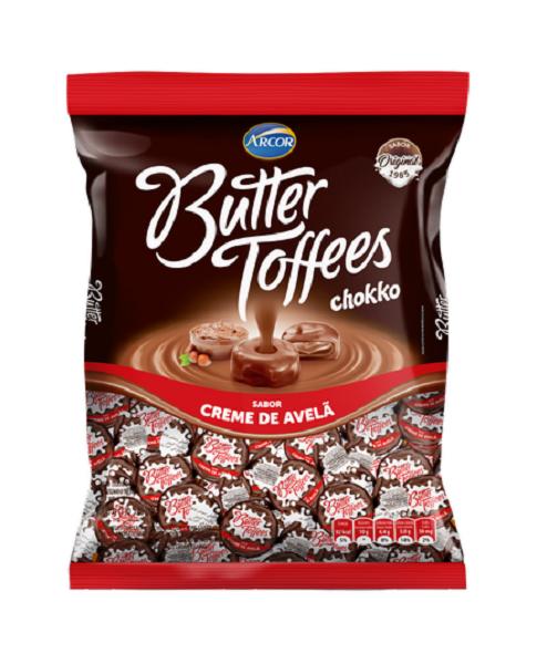 Bala Recheada Arcor Butter Toffe Creme De Avelã Pacote 500g