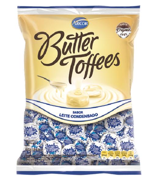 Bala Recheada Arcor Butter Toffe Leite Condensado Pacote 500g
