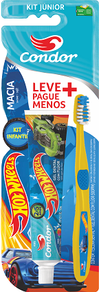 Kit Escova De Dente Hotwheels Júnior + Gel Dental Kids Condor  Ref.8160-0
