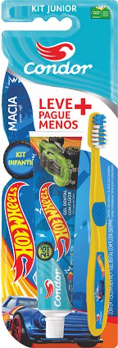 Kit Escova De Dente Hotwheels Júnior + Gel Dental Kids Condor  Ref.8160-0