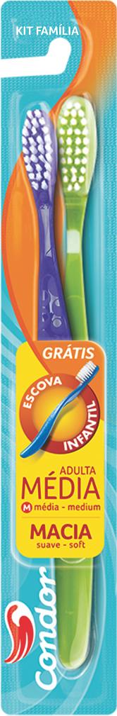 ESCOVA DE DENTE KIT FAMILIA (MEDIA + MACIA) CONDOR REF.8030-0