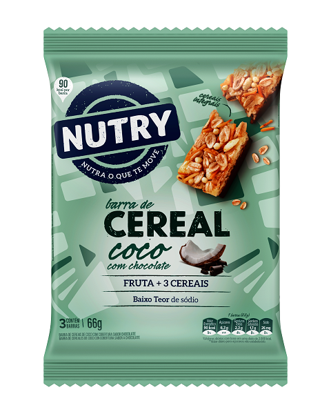 Barra De Cereais  Nutry Coco Com Chocolate  66g(3x22g)