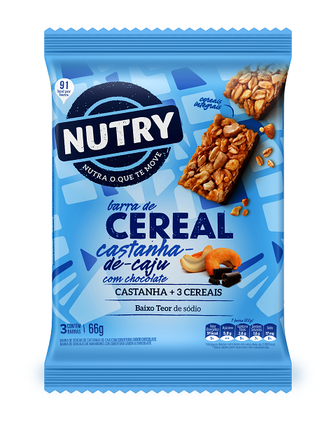 BARRA DE CEREAIS  NUTRY CAJU COM CHOCOLATE  66G(3X22G)