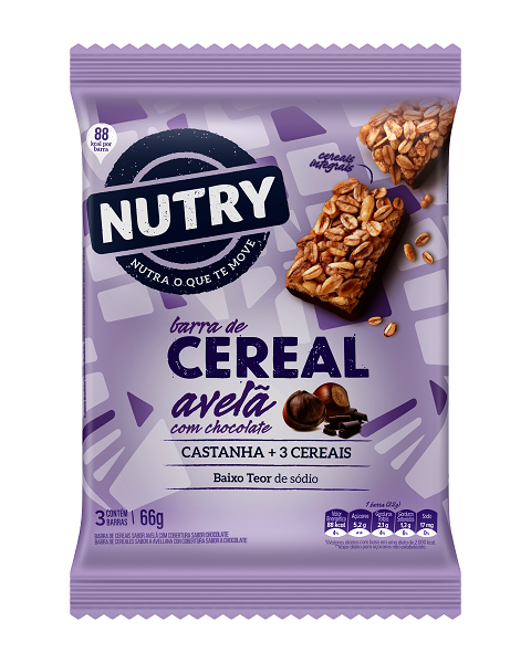 Barra De Cereais  Nutry Avelã Com Chocolate  66g(3x22g)