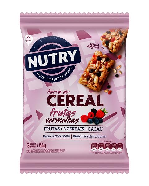 Barra De Cereais  Nutry Frutas Vermelhas  66g(3x22g)