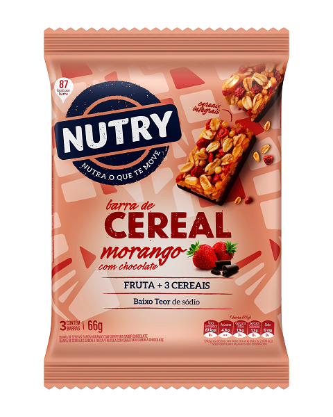 Barra De Cereais  Nutry Morango Com Chocolate  66g(3x22g)