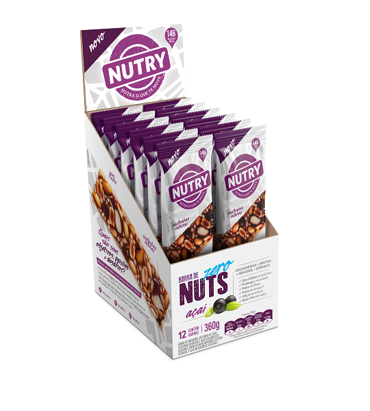 Barra Nuts   Nutry Açaí Zero Áçucar Display 360g(12x30g)